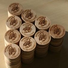 Wood geocoins, beech branch, 100 pcs.