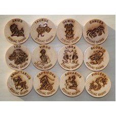 Zodiac signs - set of 12 trackable wood geocoins