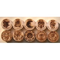 Mayan symbolic - set of 10 trackable wood geocoins