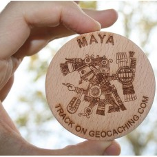 XXL personal trackable wooden geocoins, 5 pcs.